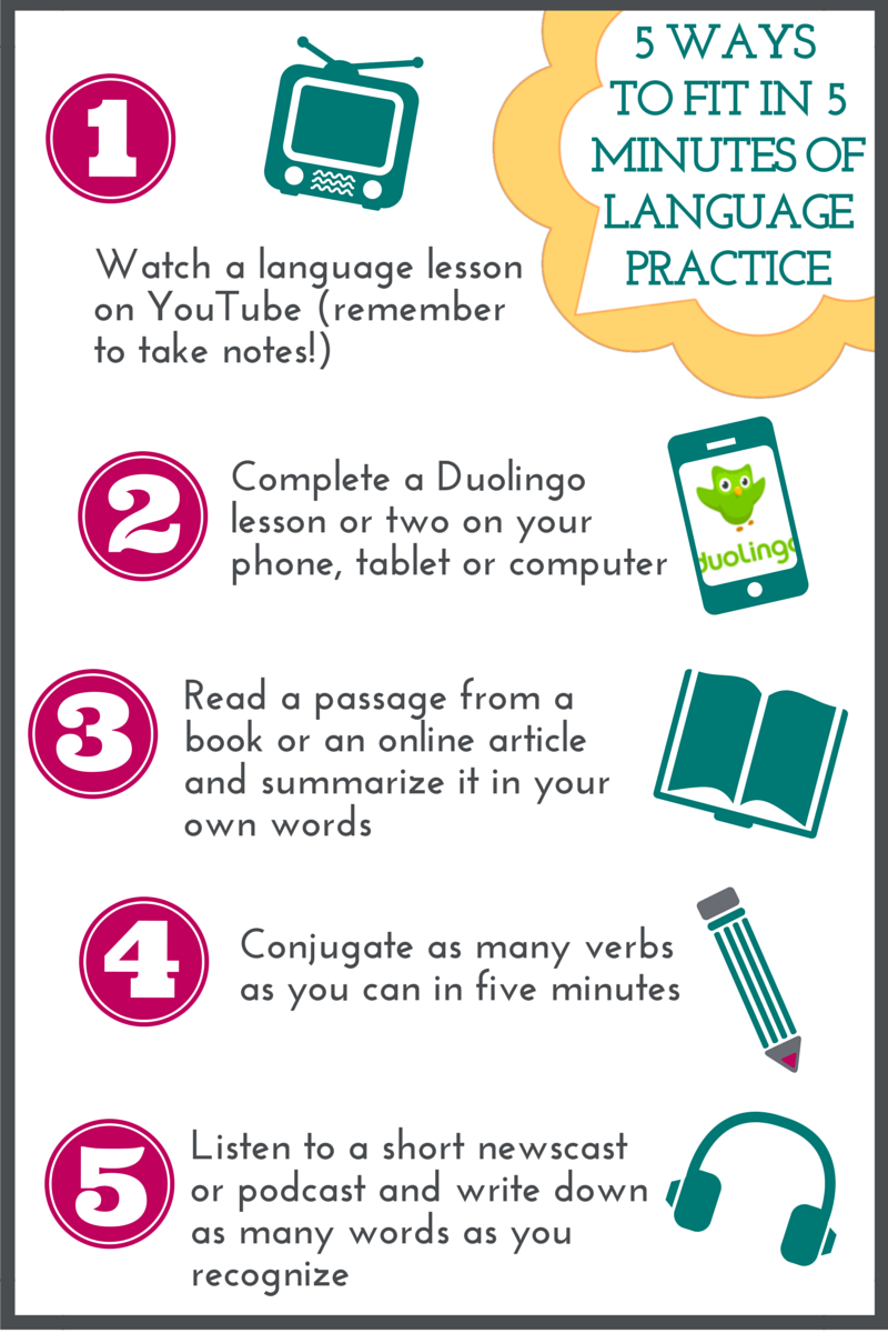 5 Ways to Fit in 5 Minutes of Language Practice - Language in Bloom